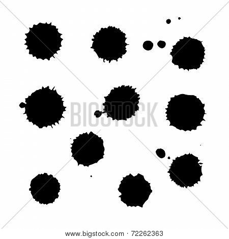 Set Of Black Traced Ink Splatters. Vector Clip-art.