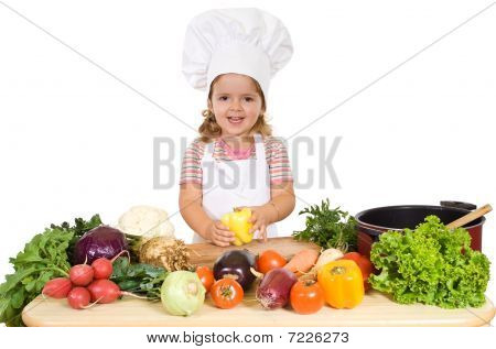 Happy Little Chef With Vegetables