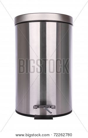 Front of closed trash can scratch surface on white background.