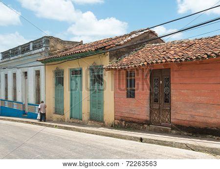 Colonial Facades In Santa Clara, Cuba