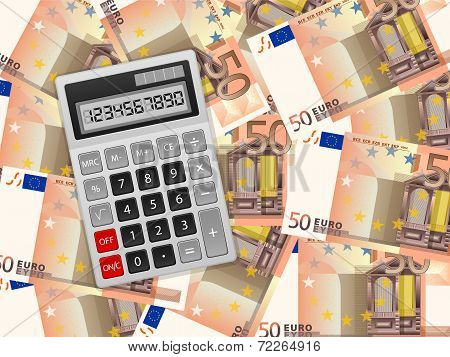 Calculator On Fifty Euro Background