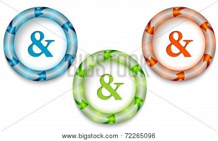 Three Frames With Color Backlight And Ampersand