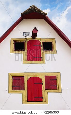 Facade Of Old Medieval House In Rothenburg Ob Der Tauber, Germany