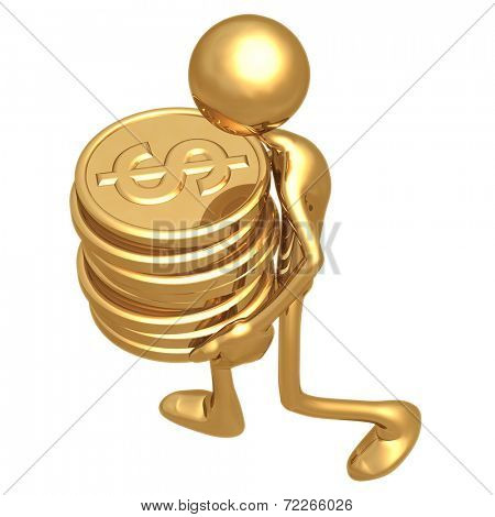 Man Carrying A Stack Of Gold Dollar Coins In His Hands