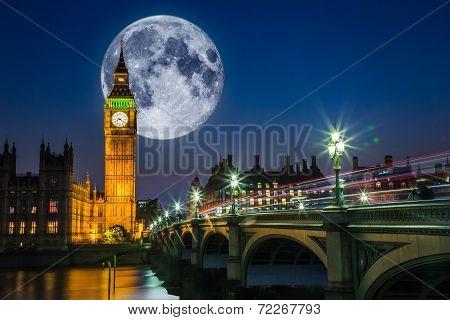 London night scene with Big Ben