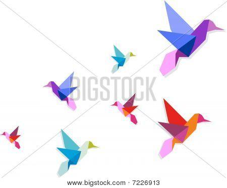 Group Of Various Origami Hummingbirds