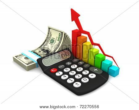 Save Download Preview Business Charts With Calculator, Money,