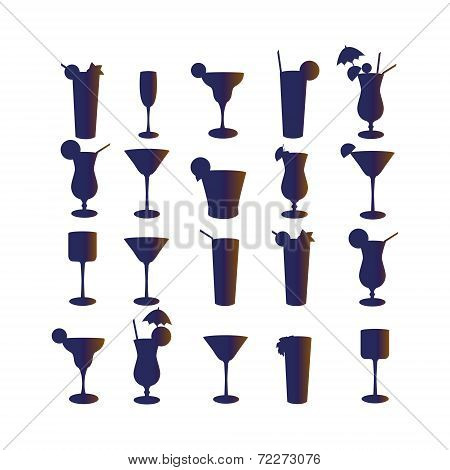 Set Of Silhouettes Of Cocktails On A White Background