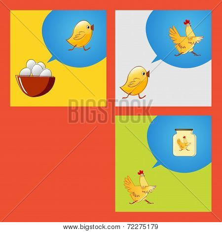 From egg to food. Vector sketch meaning of life