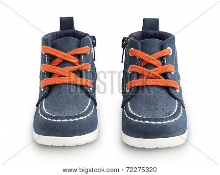 Baby Blue Shoes With Orange Laces