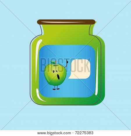 Bank with home canned apples. Vector design