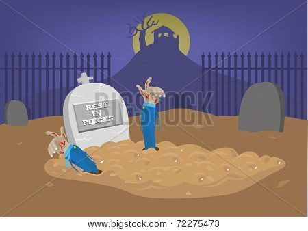 The dead becomes alive again. Funny and scary Halloween concept