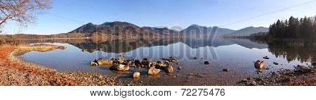Beautiful Autumnal View To Lake Tegernsee, Bavarian Landscape