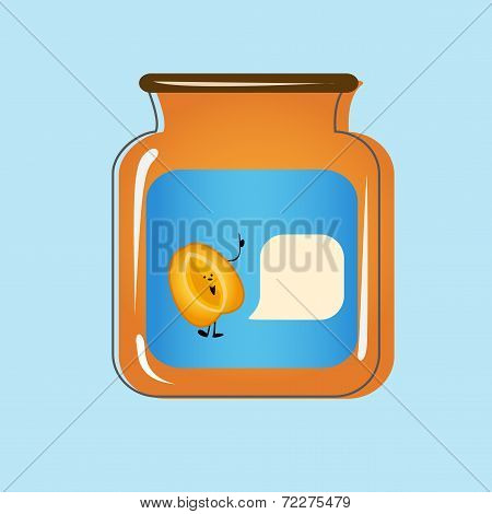 Bank with home canned peaches. Vector design