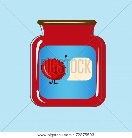 Bank with home canned cherry. Vector design