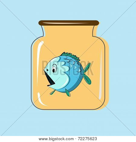 Glass jar with canning fish. Vector design