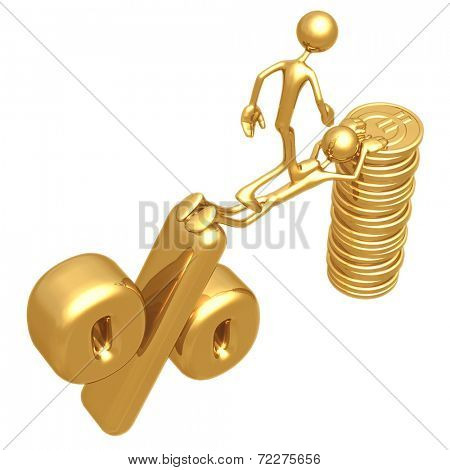 Sacrifice Bridge Between Percentage Symbol And Gold Euro Coin Stack
