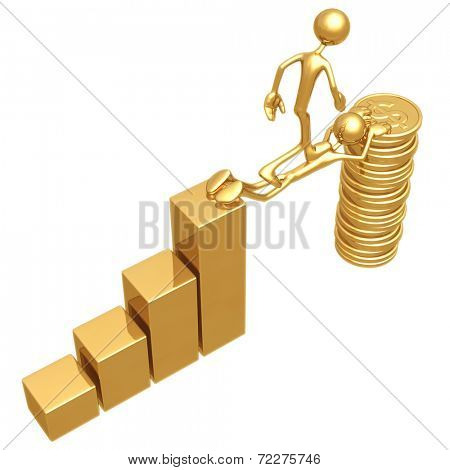 Sacrifice Bridge Between A Bar Graph And A Gold Dollar Coin Stack