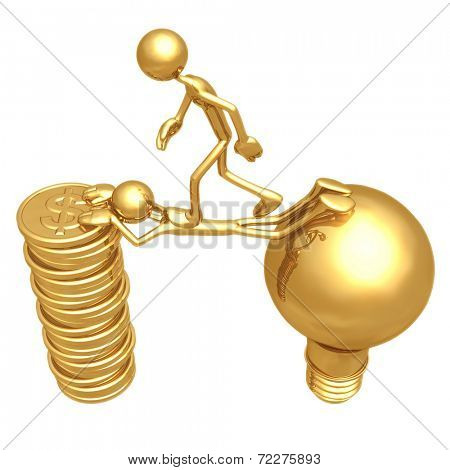 Sacrifice Bridge Between An Idea And A Gold Dollar Coin Stack