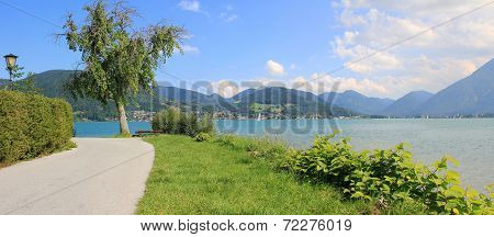 Waterside Promenade Of Lake Tegernsee With View To The Alps, Germany