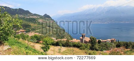 Piovere Village And Lookout To Garda Lake, Italy