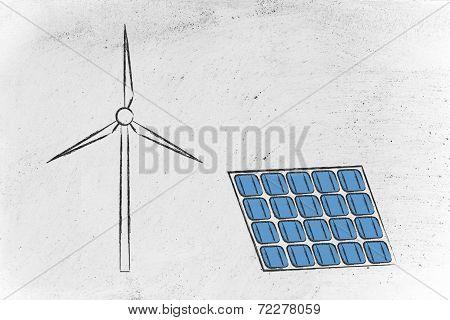 Renewable Energy: Wind Park Turbine And Solar Panel