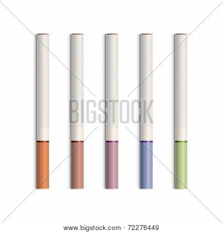 Vector Set of Cigarettes With Colored Filters