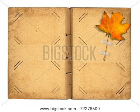 Open Vintage Photoalbum For Photos With Autumn Foliage On White Isolated Background