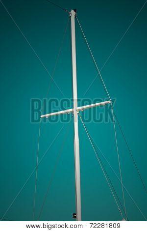Ship Mast On Sea Blue Sky