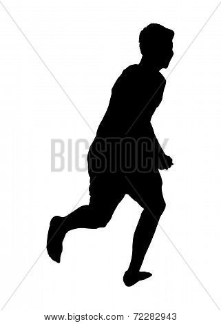 Silhoutte of a young male running