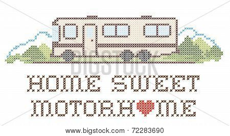 Home Sweet Motorhome, Cross Stitch Embroidery, Class A Model