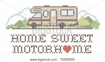Home Sweet Motorhome, Cross Stitch Embroidery, Class C Model