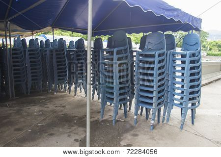 Stack Of Blue Plastic Chair For Banquet