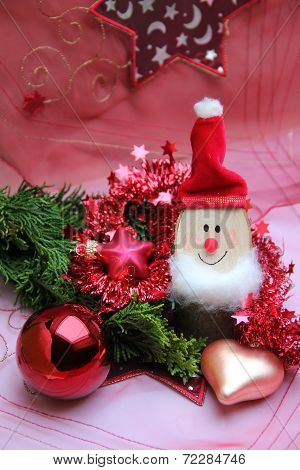 Christmas Decoration With Gnome And Baubles