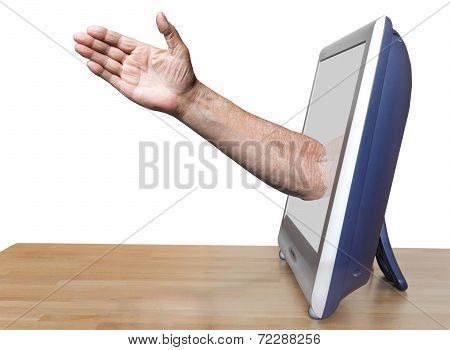 Worker Arm Leads Out Tv Screen
