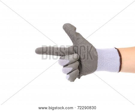 Hand in glove showing one.