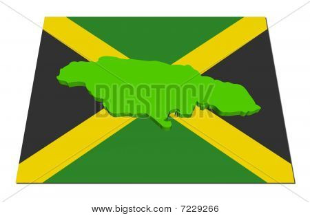 Jamaica 3D Render Map On Flag