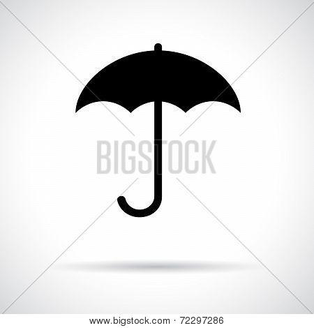 Umbrella. Black flat icon with shadow.