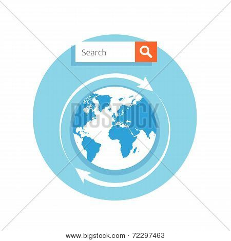 Search Concept Address Bar With Globe Icon