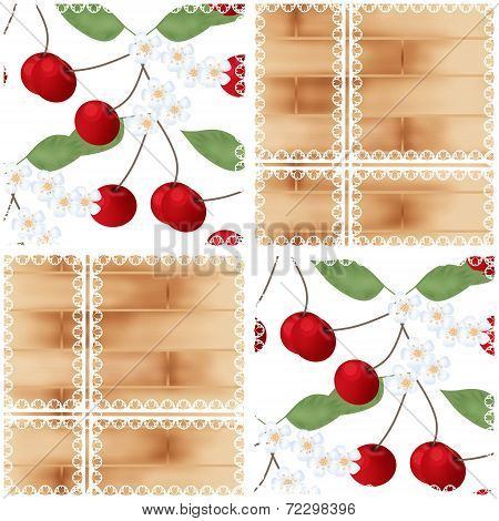 Patchwork Abstract Seamless Lace Floral Cherry Pattern Background