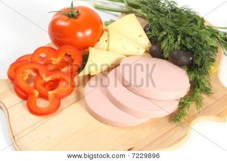 Sliced Food Arrangement With Sausage