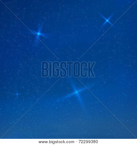Vector blue evening skyes with stars