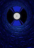 stock photo of jock  - Vector Vinyl Plate with Musical Symbols on Dark Background - JPG