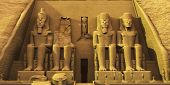 image of pharaohs  - Temple of Abu Simbel are two massive rock formations where statues have been carved into the stone to honor Pharaoh Ramesses and Queen Nefertari - JPG