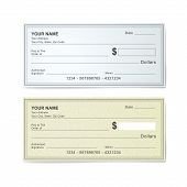 stock photo of check  - blank bank check template isolated on white - JPG