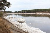 stock photo of kan  - Kan River after an ice drift in Zelenogorsk, Krasnoyarsk Territory ** Note: Soft Focus at 100%, best at smaller sizes - JPG