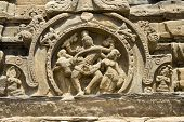 stock photo of karnataka  - Sculptural panel of dancing Shiva with Parvathi and Nandi at Pattadakal District Bagalkot Karnataka India Asia - JPG