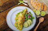 stock photo of scallion  - Vegetarian scallion omelette bio eggs swiss cheese slised lime - JPG