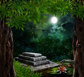 image of moonlit  - Tombstone in celebration of Halloween on the background of the moonlit night - JPG