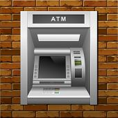 image of automatic teller machine  - Vector ATM Bank Cash Machine on a Brick Wall Background - JPG